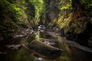 Pictures United Kingdom Stones River Wales Cliff Moss Conwy Nature