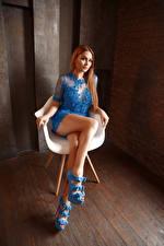 Papel de Parede Desktop Viacheslav Krivonos Sentados Vestido Pernas Ver Poltrona Kate jovem mulher
