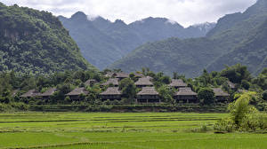 Papéis de parede Vietnã Casa Montanhas Campos Aldeia Ban Lac Village, Mai Chau Naturaleza imagens