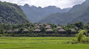 Desktop hintergrundbilder Vietnam Haus Berg Felder Dorf Ban Lac Village, Mai Chau Natur
