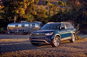 桌面壁纸,,大众汽车,蓝色,跨界休旅車,金屬漆,2021 Atlas V6,