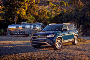 Bakgrundsbilder på skrivbordet Volkswagen Blå Crossover Metallisk 2021 Atlas V6
