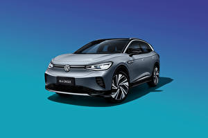Wallpapers Volkswagen CUV Gray Metallic Front Colored background ID.4 Crozz Prime, China, 2020 auto