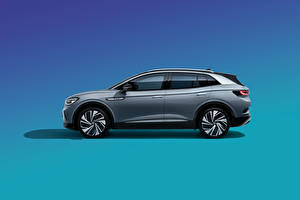 Pictures Volkswagen Crossover Side Colored background Gray Metallic ID.4 Crozz Prime, China, 2020 automobile