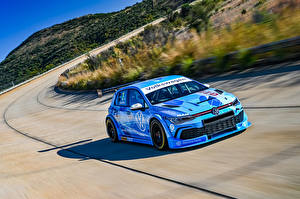 Desktop wallpapers Volkswagen Tuning Light Blue Riding 2020 Golf GTI GTC automobile