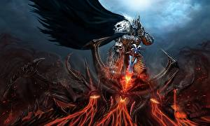 Pictures Warriors Demon Battles Diablo World of WarCraft Swords Armour lich king Games Fantasy