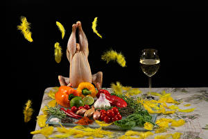 Wallpaper Wine Feathers Vegetables Bell pepper Garlic Onion Tomatoes Lime Chicken as food Stemware Food