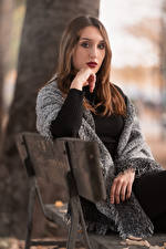 Pictures Bench Sit Hands Glance Bokeh Brown haired Sweater Alessia Girls