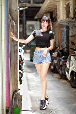 Pictures Asiatic Brown haired Pose Legs Shorts T-shirt Staring Girls