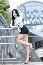 Picture Asian Brunette girl Posing Legs Skirt Blouse Smile Glance Girls