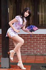 Bilder Asiatische Kleid Bein Fächer Blick Posiert Mädchens