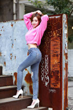 Image Asiatic Pose Jeans Sweater Staring Stilettos Girls