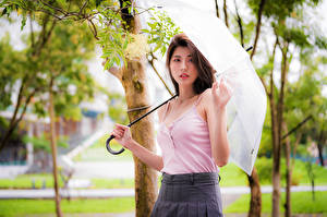 Bilder Asiaten Unterhemd Regenschirm Hand Blick Mädchens