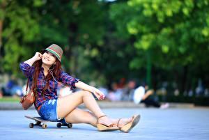 Photo Asian Skateboard Purse Bokeh Hat Smile Sitting Shorts Legs female