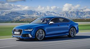Pictures Audi Blue Riding Side Bokeh RS7, Sportback performance, 2015 Cars