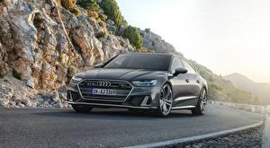 Desktop hintergrundbilder Audi Vorne Grau Asphalt S7, Sportback, TDI, 2019 Autos