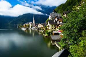 Wallpapers Austria Hallstatt Mountains Lake Houses Alps Nature