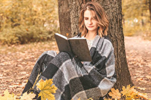 Picture Autumn Brown haired Book Sitting Girls