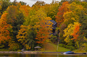Picture Autumn Canada Parks Houses Pier Trees Multicolor Huntsville, Ontario Nature