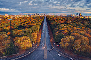 Pictures Autumn Germany Berlin Houses Roads Trees From above Nature Cities