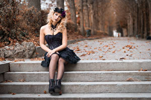 Image Autumn Gothic Fantasy Blonde girl Sit Dress Legs Wreath Foliage Staring Blurred background Deborah young woman