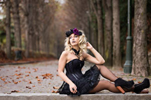 Picture Autumn Gothic Fantasy Blonde girl Sitting Frock Legs Wreath Leaf Blurred background Deborah Girls