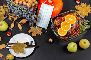 Desktop wallpapers Autumn Masks Coronavirus Knife Roast Chicken Grapes Apples Pumpkin Chestnut Gray background Plate Fork Leaf Food