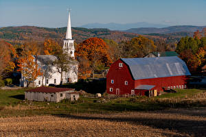 Picture Autumn USA Houses Temples Church Peacham, Vermont Cities Nature