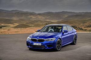 Bakgrundsbilder på skrivbordet BMW Blå M5 2017 M5 F90