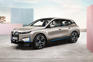 Desktop wallpapers BMW Crossover Grey Metallic iX, Worldwide, (i20), 2021 Cars