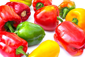 Pictures Bell pepper Closeup White background Multicolor