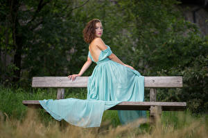 Images Bench Sitting Frock Glance young woman