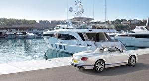 Fotos Bentley Yacht Seebrücke Weiß Continental GT, Convertible Galene Edition, 2017 auto