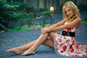 Picture Blonde girl Gown Sitting Hands Legs Posing female