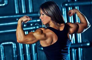 Desktop hintergrundbilder Bodybuilding Brünette Pose Unterhemd Muskeln Hand Rücken Olga Belyakova junge frau