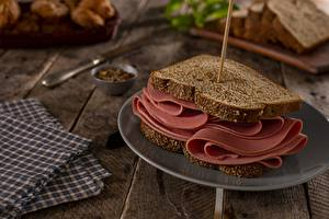 Wallpapers Bread Ham Sandwich Plate Food pictures images