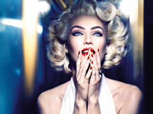Pictures Candice Swanepoel Marilyn Monroe Blonde girl Hands Makeup Manicure Glance Cosplay Marilyn Monroe young woman