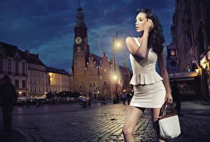 Fotos Kathedrale Handtasche Platz Brünette Kleid Hand Straßenlaterne Nacht Mädchens