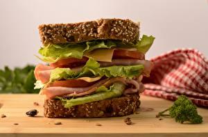 Picture Cheese Ham Closeup Sandwich