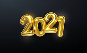 Pictures New year Black background Gold color 2021