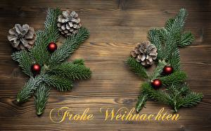 Wallpapers Christmas Branches Conifer cone Balls Word - Lettering German