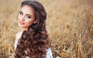 Wallpapers Curly Bokeh Brown haired Staring Hairdo Hair Beautiful female