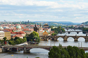 Images Czech Republic Prague Rivers Bridges Building