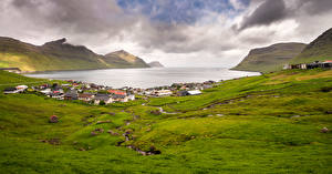 Images Denmark Mountain Building Clouds Faroe Islands, Eysturoy Nature