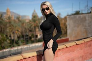 Images Blonde girl Eyeglasses Frock Hands Blurred background Ekaterina Enokaeva Girls