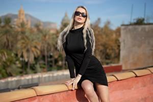 Pictures Model Blonde girl Glasses Gown Hands Bokeh Ekaterina Enokaeva female