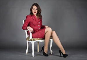 Picture Chair Sit Legs High heels Suit Glance Elena Girls