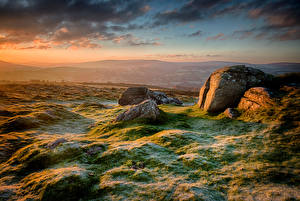 Image England Morning Stones Frost Hill Clouds Chagford