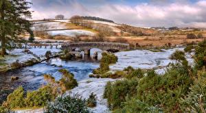 Picture England River Bridge Landscape photography Hill Bellever