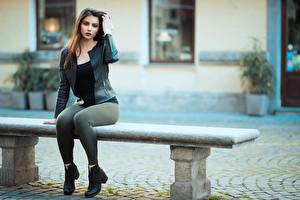 Picture Ester Merja Bench Blurred background Jacket Brown haired Sitting Legs Modelling Luigi Malanetto